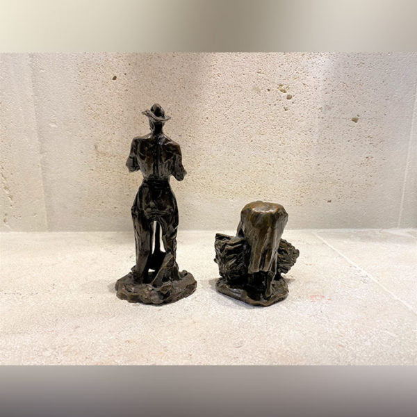 couple de paysans en bronze